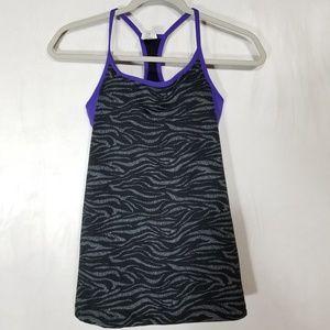 Fabletics Black Purple Zebra Print Top (6-034)